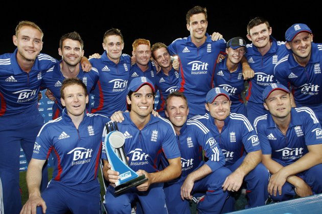 The England team celebrate winning against New Zealand during the final cricket match and the series of their one day international series at Eden Park