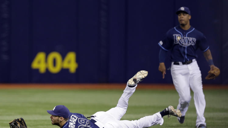 Tampa Bay Rays right fielder Kevin Kiermaier makes a diving catch on a fly ball by Detroit Tigers' Rajai Davis during the eighth inning of a baseball game Thursday, Aug. 21, 2014, in St. Petersburg, Fla. Backing up the play is center fielder Desmond Jennings. (AP Photo/Chris O'Meara)