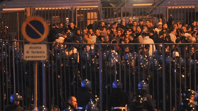 Clashes between police and Serbian fans after the abandoned Italy vs Serbia Euro 2012 qualifier at Stadio Luigi Ferraris, Genoa, Italy, 12 October 2010
