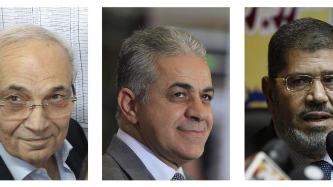 COMBO - This combination of three photos shows Egyptian presidential candidates, from left, Ahmed Shafiq, Hamdeen Sabahi and Mohammed Morsi. The candidate of Egypt's Muslim Brotherhood won a spot in a runoff election, according to partial results Friday, May 25, 2012 from Egypt's first genuinely competitive presidential election. A former prime minister and a leftist were in a tight race for second place and a chance to run against him to become the country's next leader. (AP Photo/STR; Amr Nabil; Nasser Nasser; )