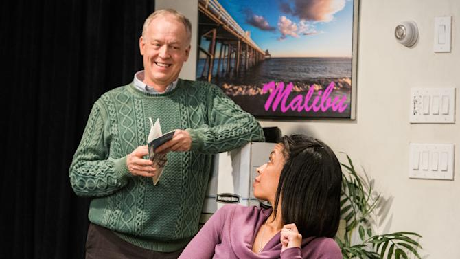 """This theater image released by Seven17 Public Relations shows Reed Birney, left, and Susan Kelechi Watson in a scene from Steven Levenson's """"Core Values"""", currently performing off-Broadway at Ars Nova in New York. (AP Photo/Seven17 Public Relations, Ben Arons)"""