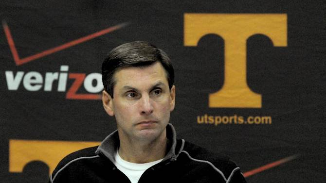 Tennessee head football coach Derek Dooley attends a news conference on Monday, Nov. 12, 2012, at the UT campus in Knoxville, Tenn. Dooley said that he hasn't been told whether the Volunteers plan to remove him at the end of the season, contrary to reports suggesting such a move was inevitable. (AP Photo/Knoxville News Sentinel, Michael Patrick)