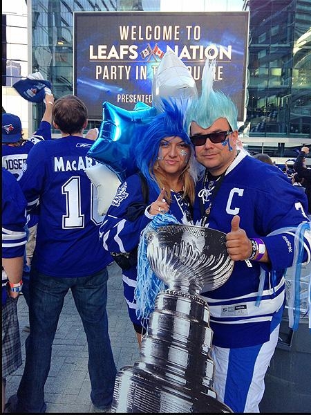 Toronto Maple Leafs fans Silvana Presta and Peter Kalamaris