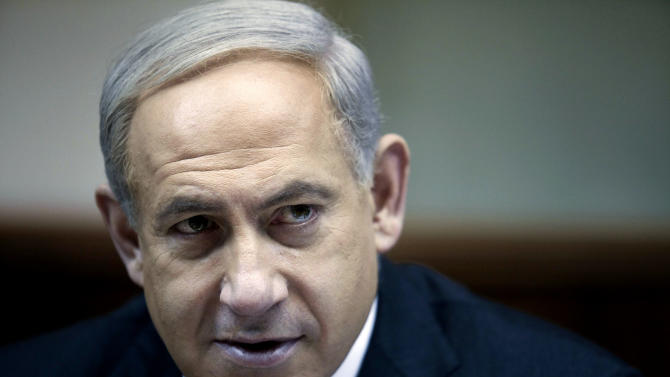Israeli Prime Minister Benjamin Netanyahu heads the weekly cabinet meeting in his Jerusalem office, Sunday, Dec. 30, 2012. (AP Photo/Abir Sultan, Pool)