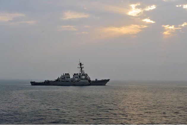 This photo provided by the U.S. Navy, Sunday, Aug. 12, 2012, shows the guided-missile destroyer USS Porter after it was damaged in a collision with the Panamanian flagged, Japanese-owned bulk oil tank