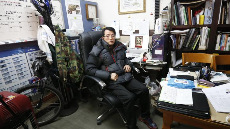 Oh Dae-keun, who was one of the participants in the latest inter-Korean reunion for families separated by the 1950-53 Korean War, poses at his office in Seoul