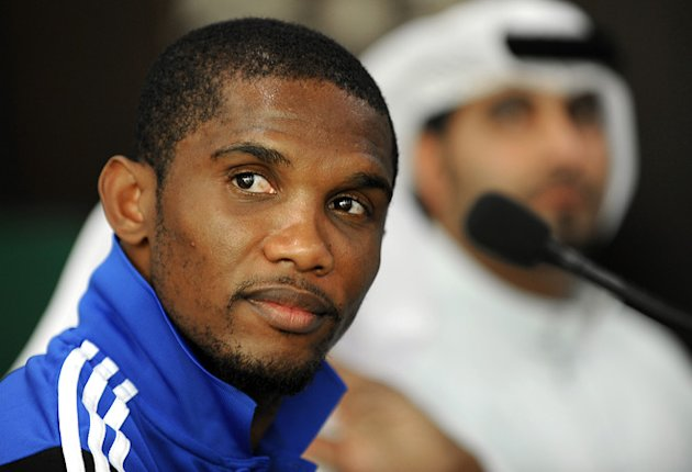 Anzhi Makhachkala's Cameroonian forward Samuel Eto'o holds a press coneference in Dubai on January 12, 2012. The Russian club will play a friendly against the Iraqi Olympic team in the Gulf emirate on January 16. (Photo by Str/AFP/Getty Images)