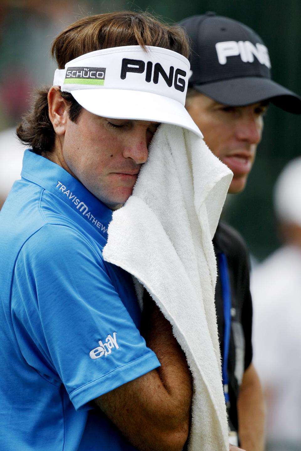 Bubba Watson towels off on the driving range during a practice round for the PGA Championship golf tournament on the Ocean Course of the Kiawah Island Golf Resort in Kiawah Island, S.C., Wednesday, Aug. 8, 2012. (AP Photo/Lynne Sladky)