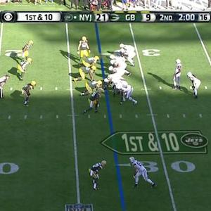 Green Bay Packers cornerback Tramon Williams picks off New York Jets quarterback Geno Smith