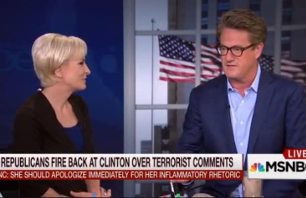 Joe Scarborough Blasts 'Disgusting' Hillary Clinton Comments Linking GOP to Terrorists (Video)