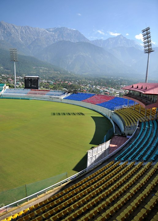 In a picture taken on September 26, 2012, the cricket stadium of the Himachal Pradesh Cricket Association (HPCA) is pictured in Dharamshala. Set in the foothills of the Himalayas, Dharamshala will hos