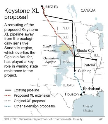 Map shows the original and revised Keystone pipeline routes proposed for Nebraska.