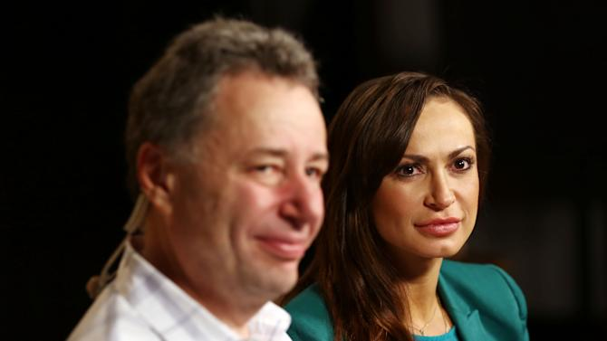"IMAGE DISTRIBUTED FOR BRIGHT FUTURE INTERNATIONAL - Karina Smirnoff, right, and Anthony Melikhov, chairman and founder of Bright Future international, are seen while taping interviews to promote Bright Future International's ""Beyond the Ballet"" event Thursday, April 11 in Burbank, Calif. ""Beyond the Ballet"" will take place at the Beacon Theatre in New York, Wednesday, May 8th, 2013. (Photo by Matt Sayles/Invision for Bright Future International/AP Images)"
