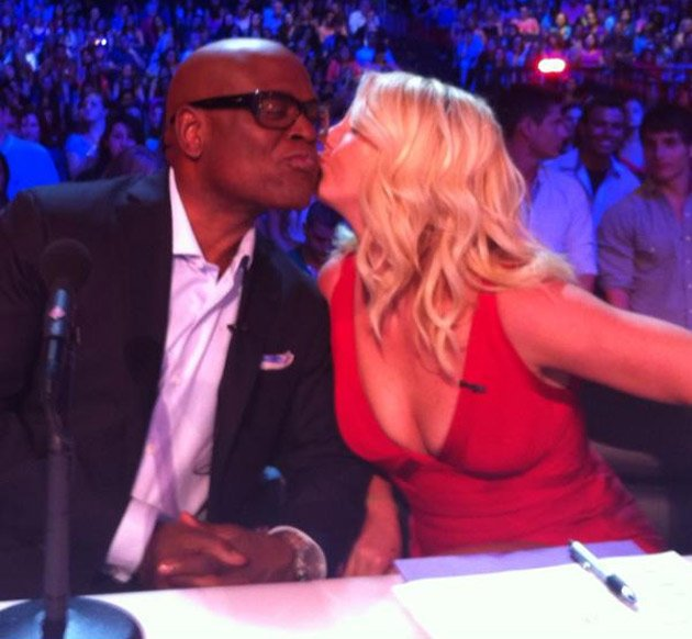 Celebrity photos: Britney Spears got flirty in the X Factor auditions this week, planting a smooch on co judge LA Reids face. We cant wait for the new series to start. Copyright [Britney Spears]