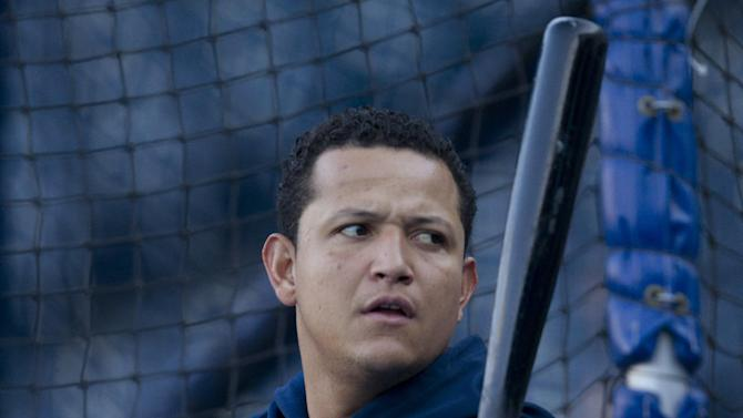 Detroit Tigers' Miguel Cabrera waits during batting practice before the Tigers' baseball game with the Kansas City Royals at Kauffman Stadium in Kansas City, Mo., Tuesday, Oct. 2, 2012. (AP Photo/Orlin Wagner)