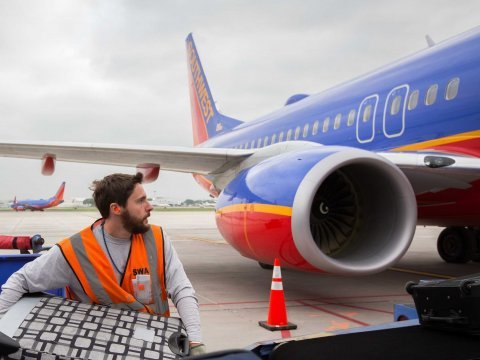 Southwest Airlines plane luggage baggage carrier