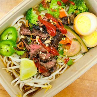 Garlic and soy-glazed beef stir fry.