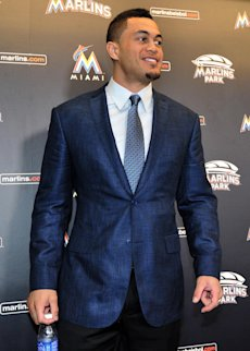 Marlins right fielder Giancarlo Stanton smiles after his news conference Wednesday at Marlins Park. (USA TODAY Sports)