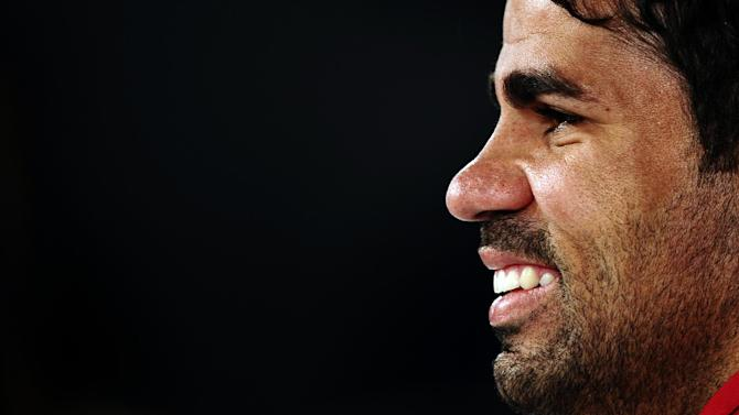 Spain's Diego Costa attends a press conference at the Atletico Paranaense training center in Curitiba, Brazil, Tuesday, June 10, 2014. Spain will play in group B of the Brazil 2014 soccer World Cup. (AP Photo/Manu Fernandez)