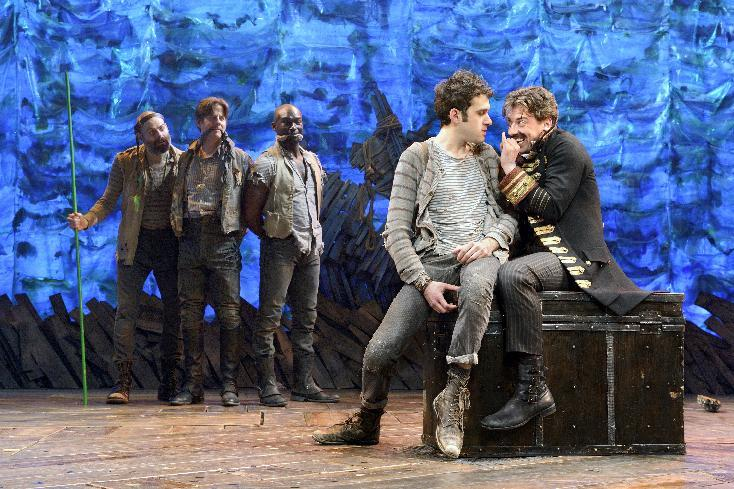 "In this theater image released by The O & M Co., from left,  Matt D'Amico, Rick Holmes, Isaiah Johnson, Adam Chanler-Berat, and Christian Borle are shown in a scene from ""Peter and the Starcatcher,"" performing at the brooks Atkinson Theatre in New York. (AP Photo/The O & M Co.)"