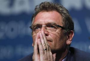 FIFA General Secretary Valcke listens to a question during an announcement on the status of Curitiba as a host city for the 2014 World Cup, in Florianopolis