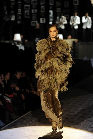 A model wears a creation for DSquared2 women's Fall-Winter 2013-14 collection, part of the Milan Fashion Week, unveiled in Milan, Italy, Thursday, Feb. 21, 2013. (AP Photo/Giuseppe Aresu)