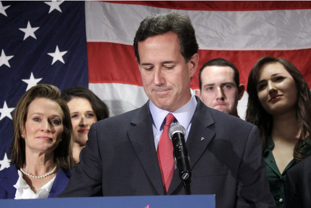 Surrounded by members of his family Republican presidential candidate, former Pennsylvania Sen. Rick Santorum announces he is suspending his candidacy effective today in Gettysburg, Pa., Tuesday, Apri