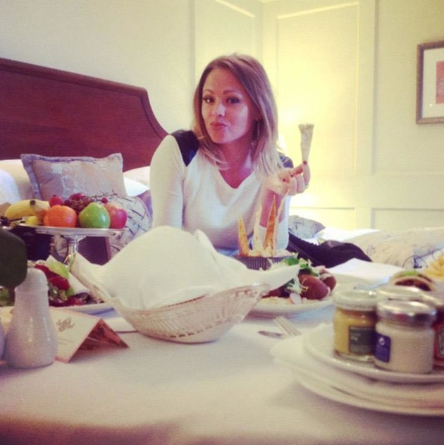 Celebrity Twitpics: Kimberley Walsh is in the midst of Strictly Come Dancing tour rehearsals and obviously needs to keep her strength up. But even we think she might have gone a BIT overboard with the