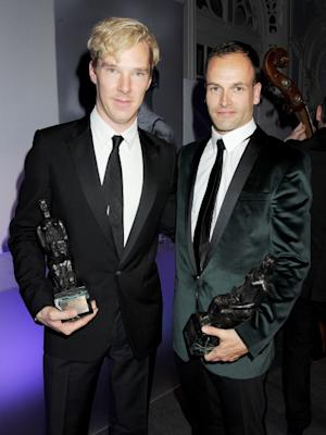 Best Actor joint winners Benedict Cumberbatch and Jonny Lee Miller attend an after party following the 57th Evening Standard Theatre Awards at The Savoy Hotel, London, on November 20, 2011 -- Getty Images