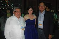 GMA Chairman and CEO Atty. Felipe L. Gozon, Marian Rivera, GMA President and COO Gilberto R. Duavit, Jr.