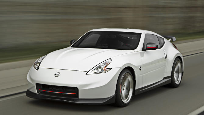This undated image provided by Nissan shows the 2014 Nissan 370Z NISMO. The top-of-the-line 2014 370Z NISMO model, where power is tuned up to 350 horses, suspension is so taut the car corners like it's on rails, and brakes are the largest in Z car history. (AP Photo/Nissan)