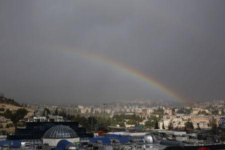 A double rainbow can be seen over Jerusalem