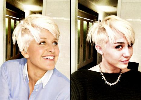 PIC: LOL! Ellen DeGeneres Copies Miley Cyrus' Pixie Cut