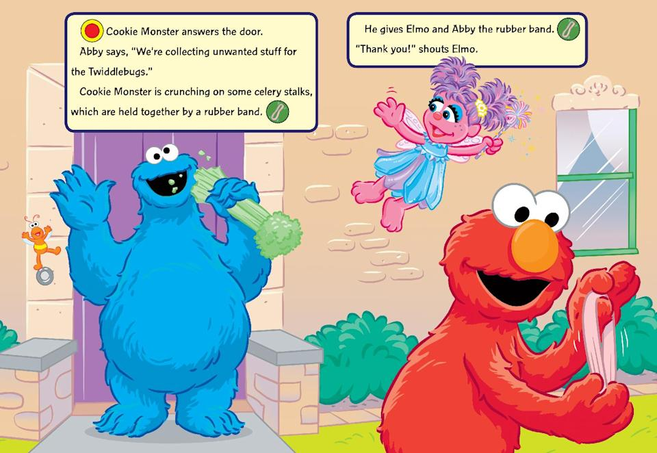 "This book image released by Sesame Workshop shows a page from, ""Ding Dong, Elmo's Here!""  With the childhood obesity rate tripling in the past 30 years to 1 in 3 children in the United States overweight or obese, a collection of picture books are available to help kids make choices that are healthier. (AP Photo/Sesame Workshop)"