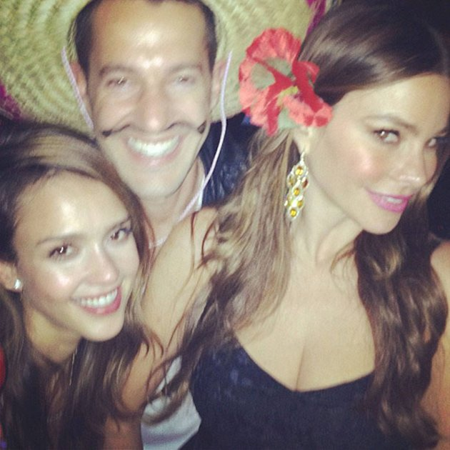 Jessica Albaposted this picture on Twitter with the caption 'Little less of a dork here #cincodemayo w@mrmikerosenthal @sofiavergara'Credit: Jessica Alba/Twitter Supplied by WENN.com(WENN does