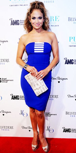 Jennifer Lopez looks stunning in an electric blue dress by Georges Chakra
