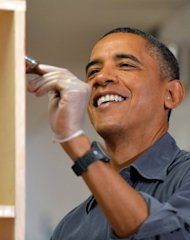 &lt;p&gt;US President Barack Obama paints a bookshelf at a school on January 19, 2013 in Washington DC, as part of the 57th Presidential Inauguration. Obama&#39;s second inauguration, which comes courtesy of an election win over Republican Mitt Romney in November, lacks the hope and history which pulsated through his swearing in as the first black American president in 2009.&lt;/p&gt;