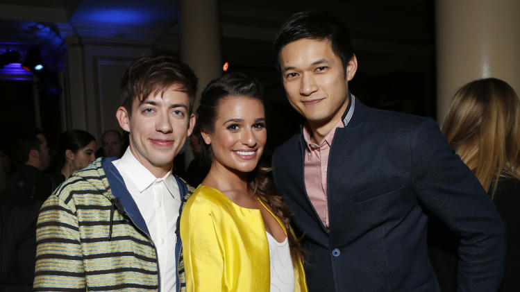 Kevin McHale, Lea Michelle and Harry Shum Jr. attend the Fox Winter TCA All Star Party at the Langham Huntington Hotel on Tuesday, Jan. 8, 2013, in Pasadena, Calif. (Photo by Todd Williamson/Invision/AP)