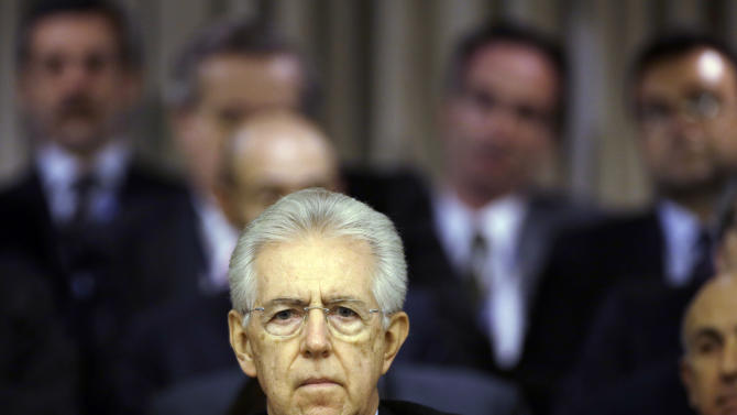 Italian Premier Mario Monti delivers his speech at the Foreign Ministry on the occasion of the Italian Ambassadors conference in Rome, Friday, Dec. 21, 2012. Monti's speech in Rome was his last official act as premier. He has pledged to step down as soon as Parliament gives final passage to the budget law, which happened just as diplomats were giving Monti a standing ovation. Italian news reports say he is expected to hand in his resignation Friday evening after his last Cabinet meeting. (AP Photo/Gregorio Borgia)