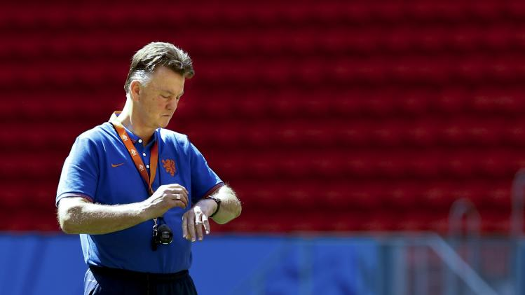 Netherlands' coach van Gaal reacts during a team training session at the Nacional stadium in Brasilia