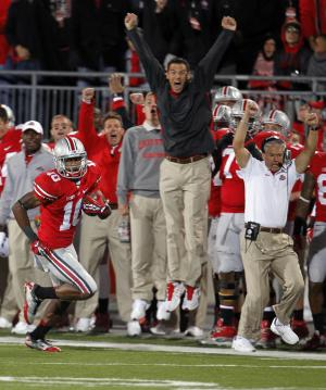 Ohio State wide receiver Corey Brown (10) returns a punt for 76 yards for a touchdown in the second half of an NCAA college football game against Nebraska, Saturday, Oct. 6, 2012, in Columbus, Ohio. (AP Photo/Tony Dejak)