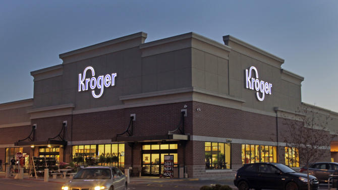 FILE - This June 12, 2012 file photo shows a Kroger store in Indianapolis. The Kroger Co. announced Thursday, March 7, 2013 that its fourth-quarter profit in 2012 handily beat Wall Street expectations. (AP Photo/Michael Conroy, File)