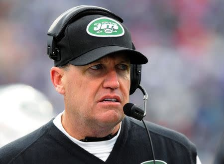 New York Jets head coach Ryan watches on the sidelines during their NFL football game against the Buffalo Bills in Orchard Park