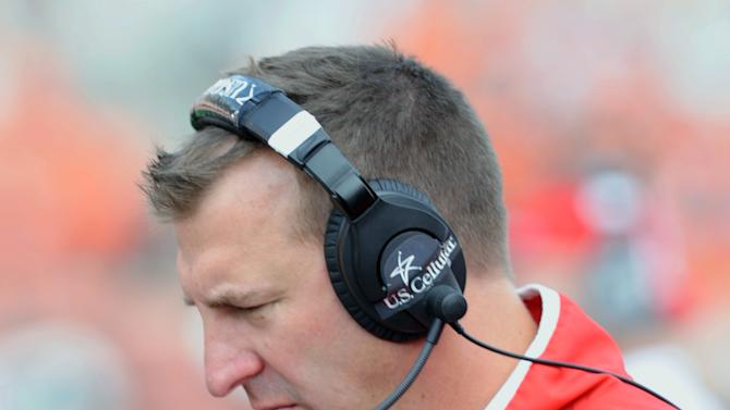 Wisconsin's head coach Bert Bielema stands on the sideline during the second half of their NCAA college football game against Oregon State in Corvallis, Ore., Saturday Sept. 8, 2012. Oregon State won 10-7. (AP Photo/ Greg Wahl-Stephens)