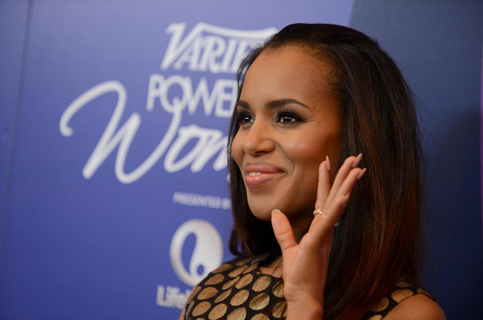 Actress Kerry Washington arrives at Variety's 5th Annual Power of Women event at the Beverly Wilshire Hotel on Friday, Oct. 4, 2013, in Beverly Hills, Calif. (Photo by Jordan Strauss/Invision/AP)