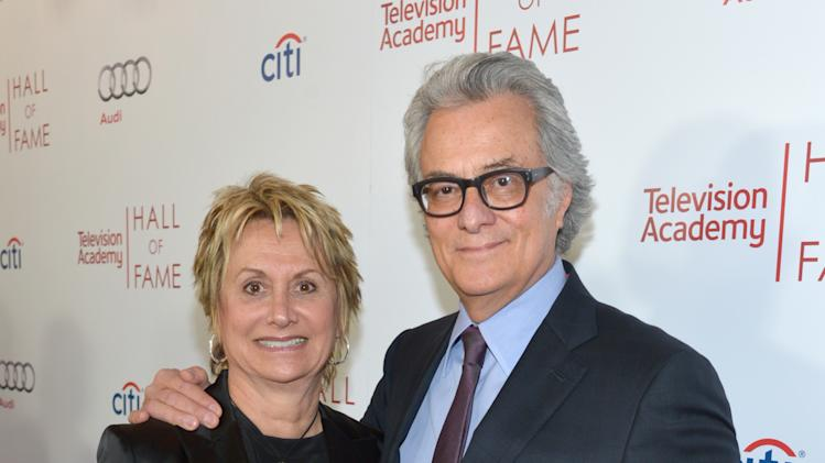 Bill D'Elia, right, and Ellie D'Elia arrive at the 2014 Television Academy Hall of Fame on Tuesday, March 11, 2014, at the Beverly Wilshire in Beverly Hills, Calif. (Photo by John Shearer/Invision for the Television Academy/AP Images)