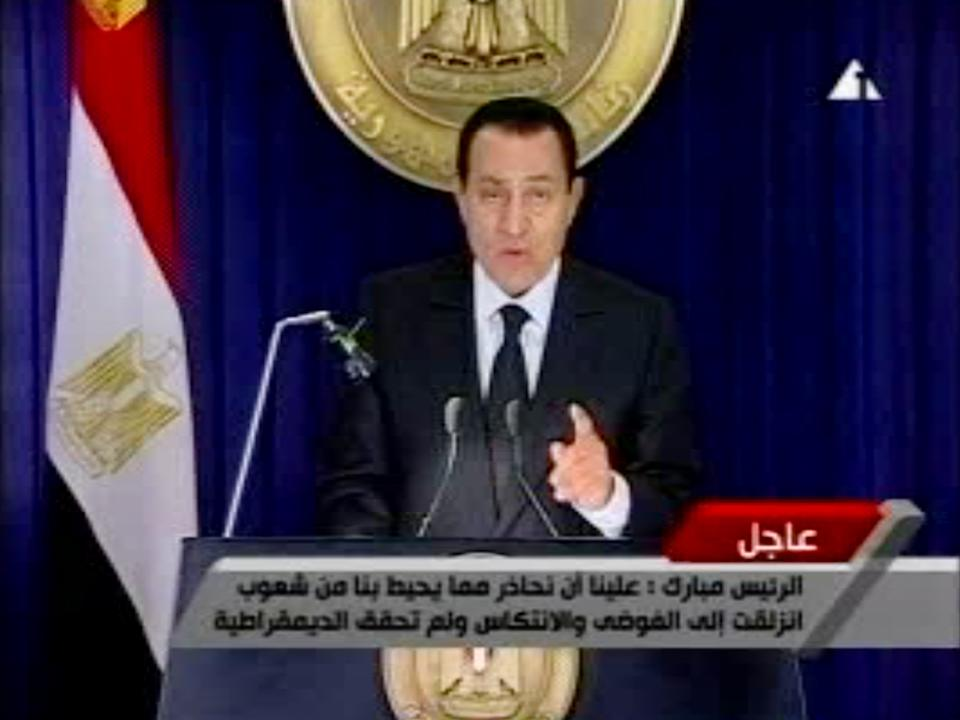 In this image made from video broadcast on Friday, Jan. 28, 2011, Egyptian President Hosni Mubarak appears on television saying he has asked his Cabinet to resign, in his first appearance on television since protests erupted demanding his ouster. (AP Photo/Egypt TV)