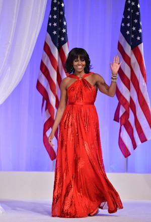 First Lady Michelle Obama dazzles in red at the Inaugural Ball on January 21, 2013 -- Getty Images