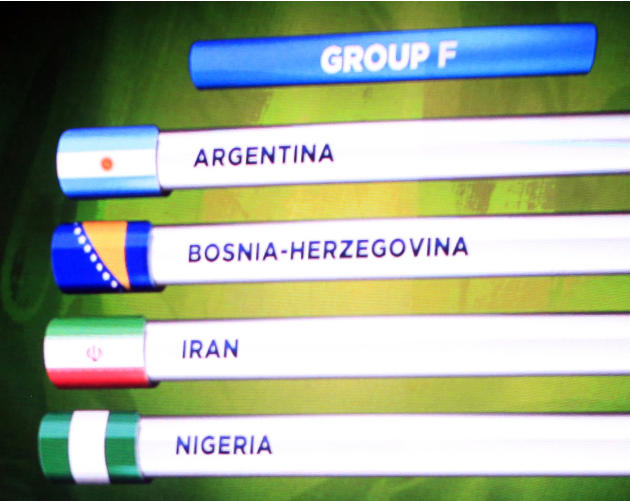 The teams in Group F for the 2014 World Cup finals are shown on the screen after the draw was made at the Costa do Sauipe resort in Sao Joao da Mata