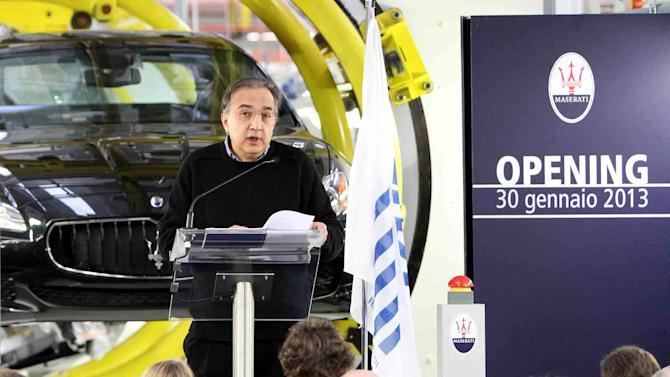 Fiat and Chrysler CEO Sergio Marchionne speaks during the unveiling of a Maserati plant in Grugliasco, near Turin, Italy, Wednesday, Jan. 30, 2013. Fiat SpA, the Italian automaker that controls Chrysler LLC, said Wednesday it stanched fourth-quarter losses in Europe last year, helping earnings more than double as North American sales continued to surge. The carmaker based in the northern city of Turin posted net profit of euro102 million ($138 million), up from euro 43 million in the same period last year as Fiat. Revenues were euro 21.8 billion. (AP Photo/Daniele Bottallo, Lapresse)